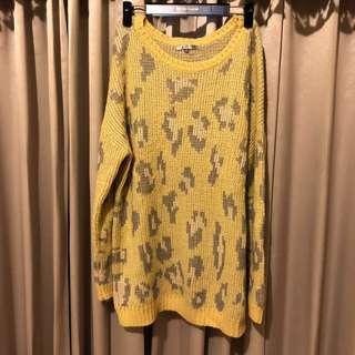 🚚 豹紋粉嫩檸檬黃豹紋寬鬆長版針織長袖毛衣