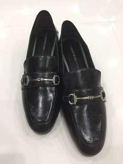Urban Revivo Black Loafers with green heel