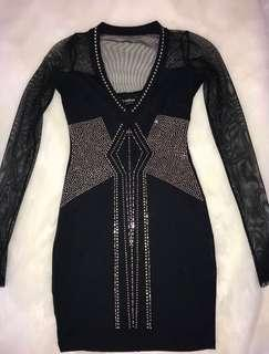 Black Mini Dress Jewel Encrusted Size XS
