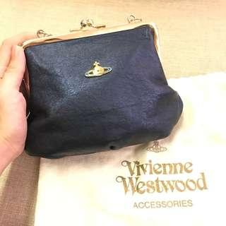 Viviene Westwood Nappa Bag Navy Metallic (chain & leather stripe)