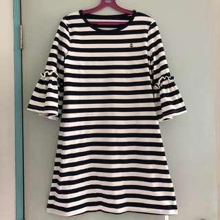 🚚 (Sales) BN Dark Blue and White Stripe Striped Work Dress