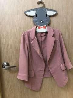 🚚 粉色五分西裝外套