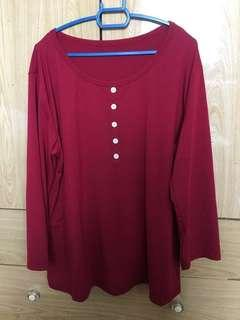 3/4 sleeves maroon Top / blouse