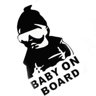 Baby On Board Black Reflective Vinyl Car Styling Sticker Waterproof