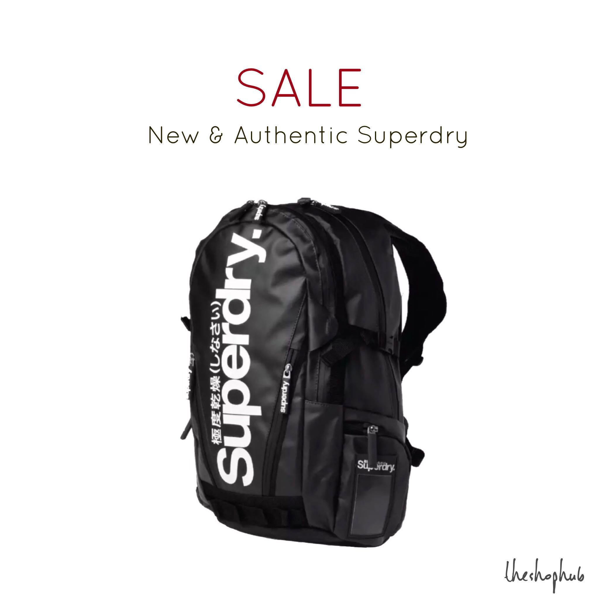 b5afd90013fe AUTHENTIC  Superdry Tarpaulin Backpack-Black and white