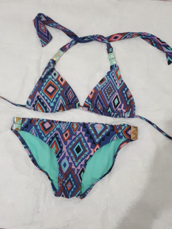 Bikini Branded Xhilaration Motif Full Print Tribal Colorful