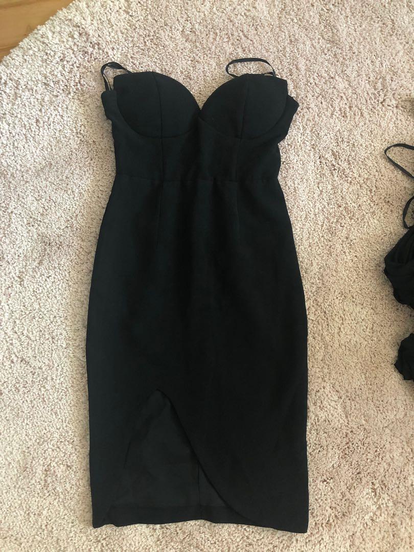 BLACK BUSTIER COCKTAIL THIGH SPLIT DRESS 6