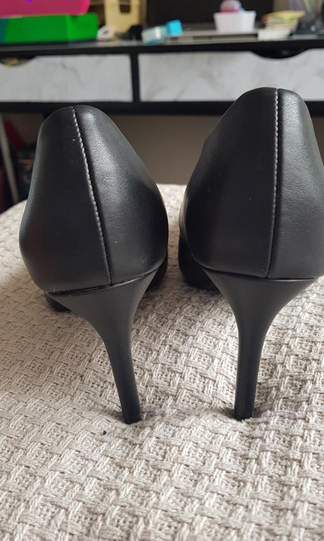 Black leather pump heels Stilettos formal fashion work prada kmart brand