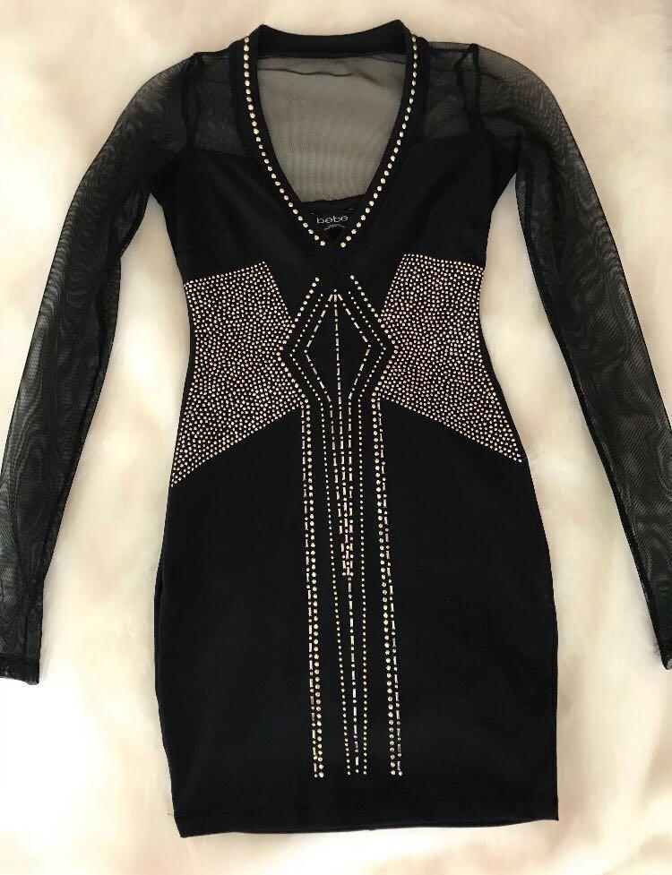 Black Mini Dress Jewel Encrusted Size XS
