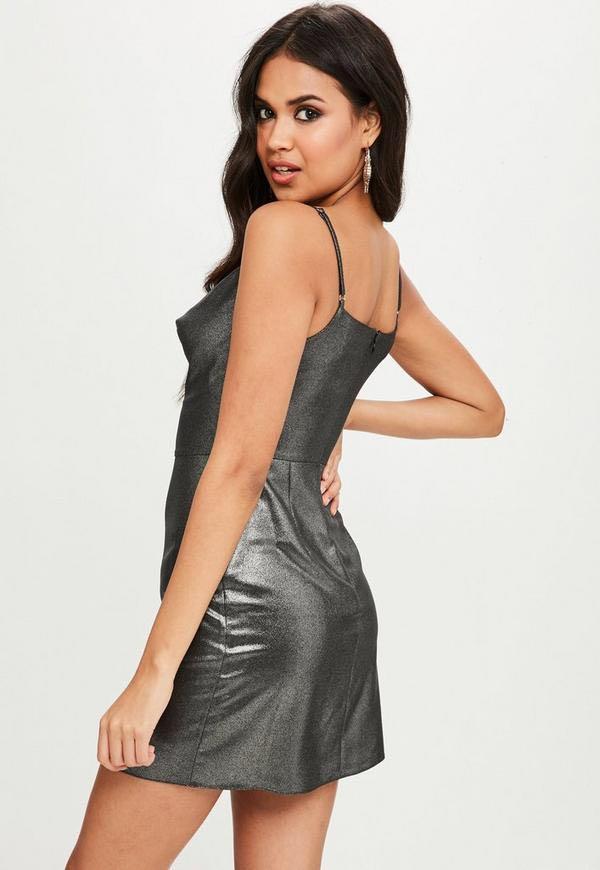 BNWT Metallic Black/Silver Cowl Neck Mini Dress Size 4