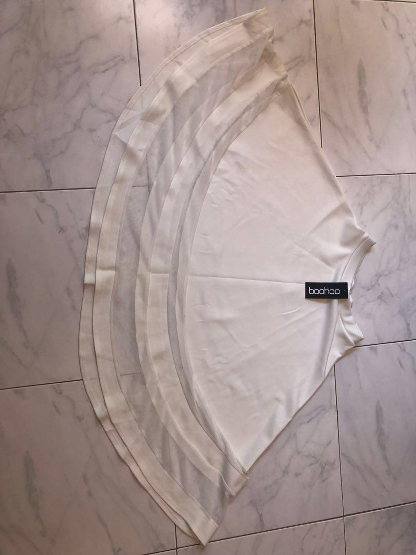 BOOHOO white mesh insert midi skirt BNWT