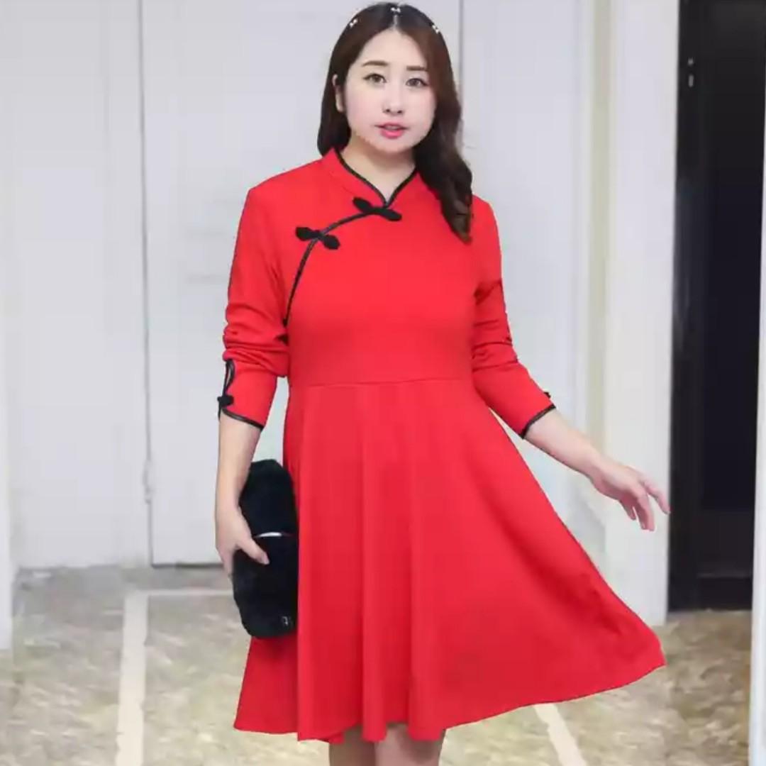 9a5778708 Pre Order [XL - 4XL] Plus Size Cheongsam Dress, Women's Fashion ...