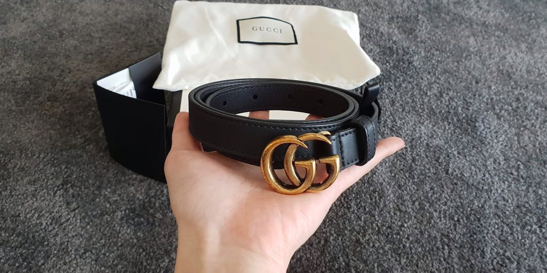 49fc778a5 Gucci Leather belt with Double G buckle, Women's Fashion ...