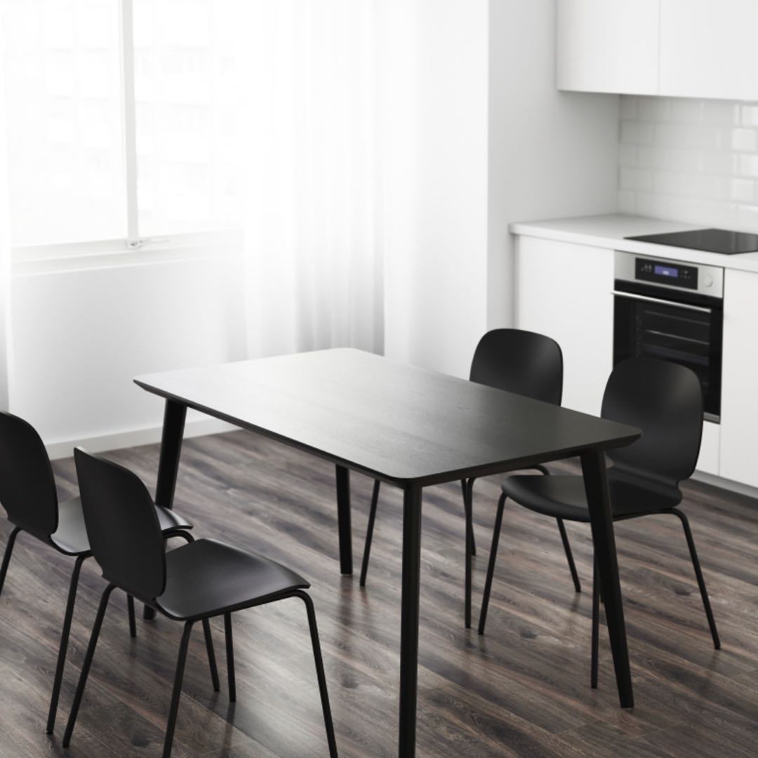 Picture of: Ikea Black Dining Table Chair Set 4 People Furniture Tables Chairs On Carousell