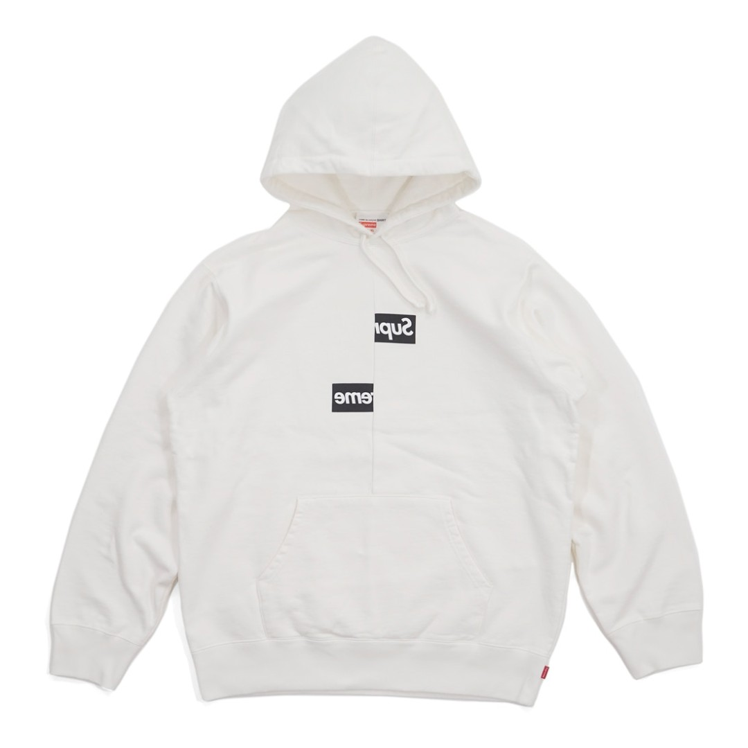 979e1e10 💯[IN STOCK-L] Supreme CDG SHIRT Split Box Logo Hoodie White, Men's ...