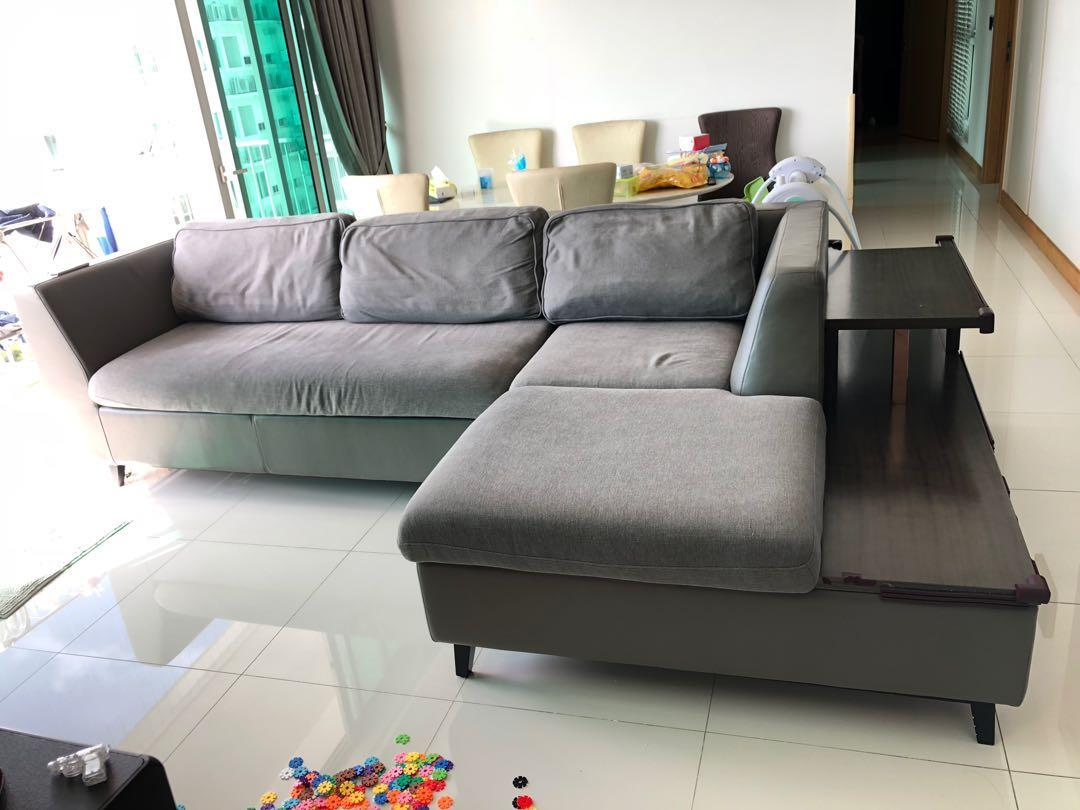 Leather sofa with sofa bed and attached side cabinet ...