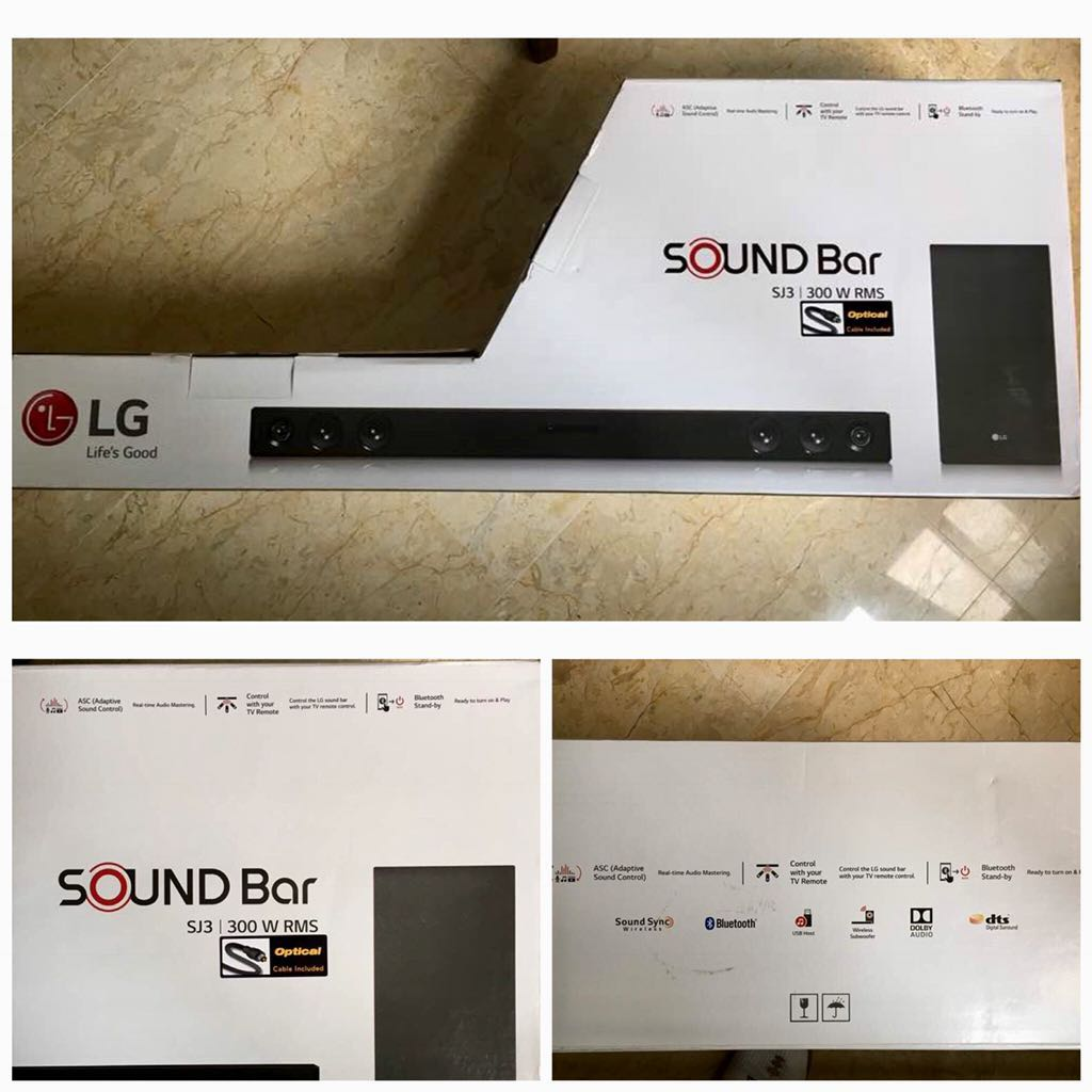 LG Wireless Subwofer & Soundbar SJ3 300W RMS