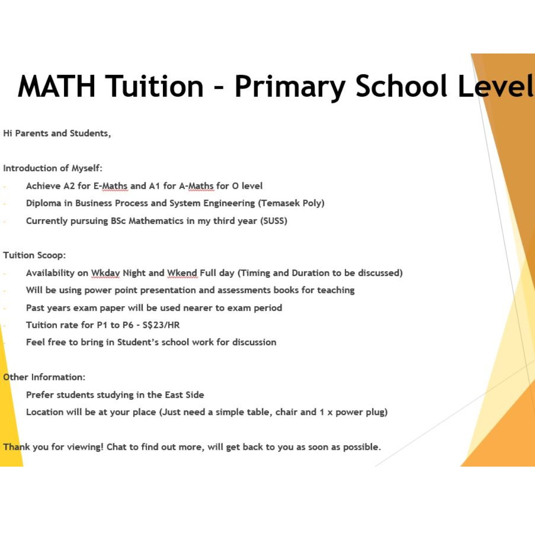 Maths Tuition for Primary School Level