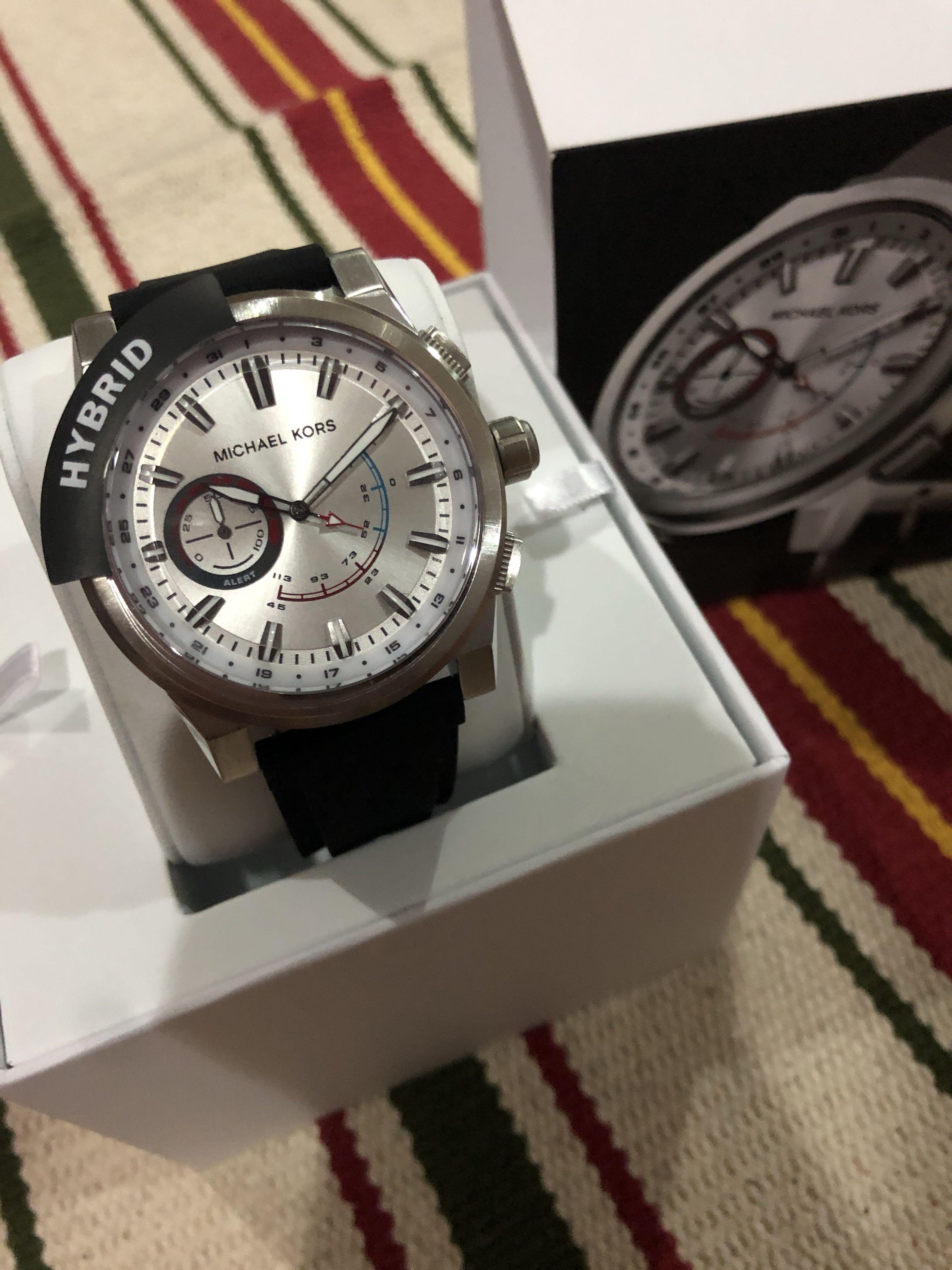 3b083b3095ab Michael Kors Access Grayson Black Silicone Hybrid Smartwatch