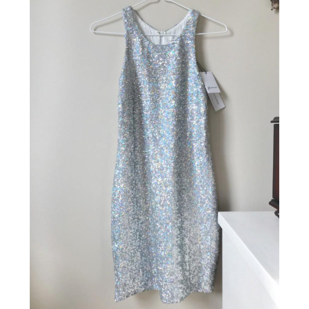 Nasty Gal Silver Sequin New Years Party or Prom Dress, small, unworn