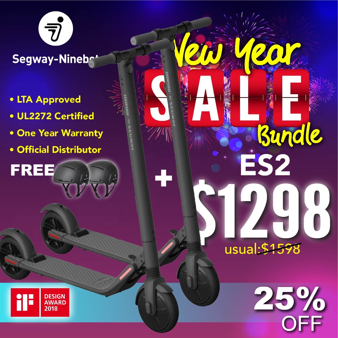 【NEW YEAR SALE】Segway ES2 Escooter x2 + FREE Segway Helmet x2 | 1 Year  Warranty | LTA Approved | UL2272 Certified