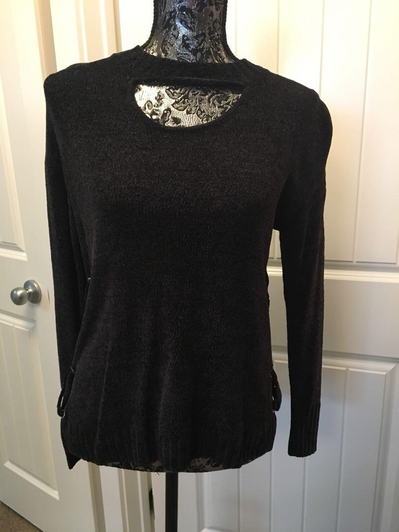 Pink Rose laceup/cutout sweater - NEW!