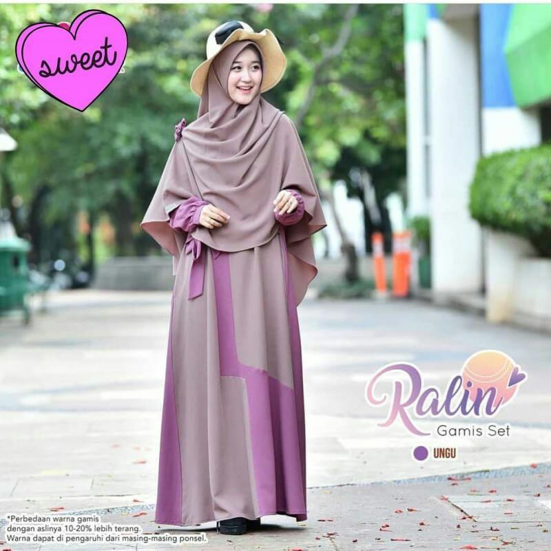 Ralin Gamis Set Khimar Fesyen Wanita Muslim Fashion Gaun Di Carousell