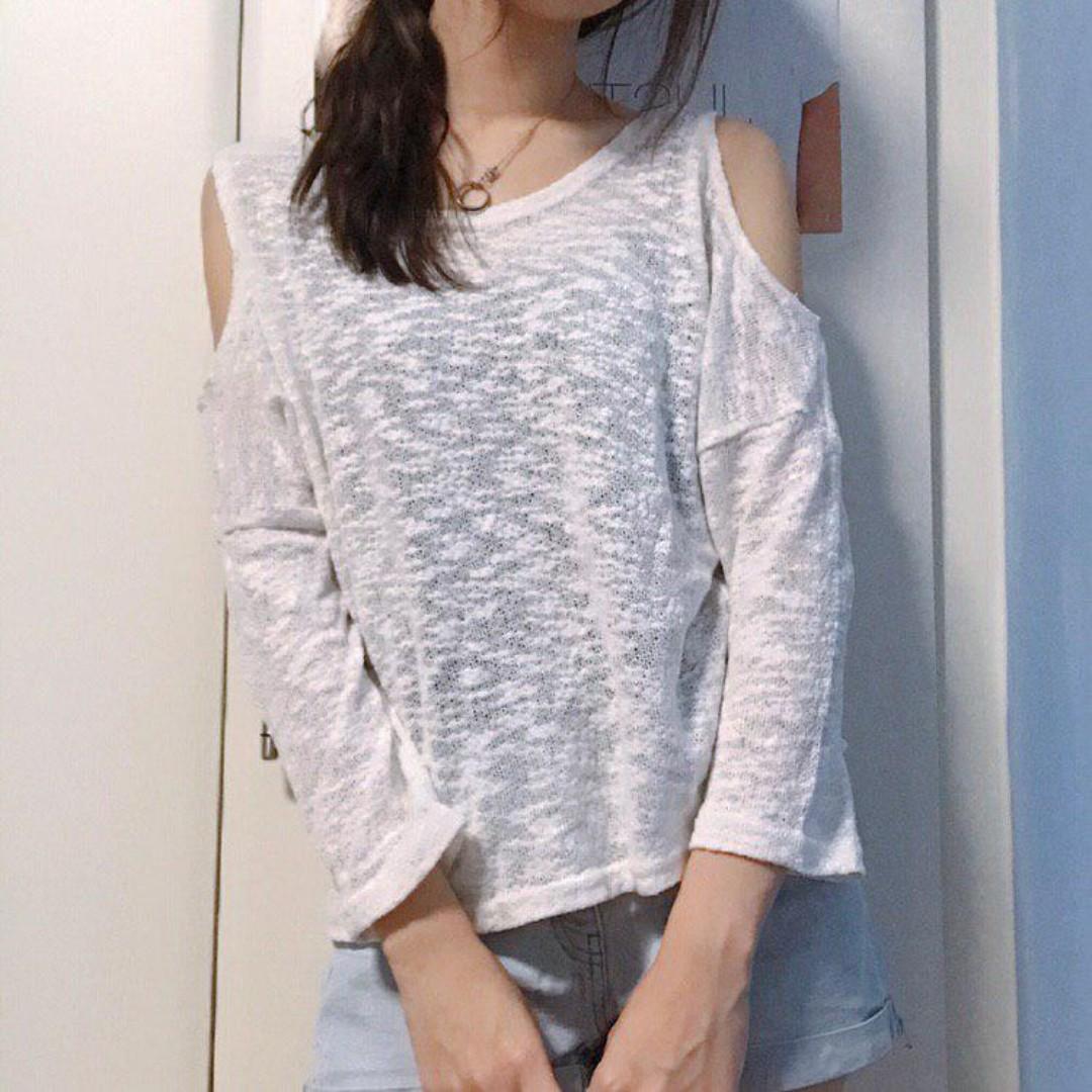 ba335ee886b72 Sheer White Long-sleeved Top