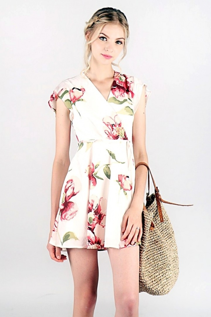 64a2f65db7 ShopLovet AUBREE FLORAL V-NECK WRAP DRESS  MADEBYLOVET (WHITE ...