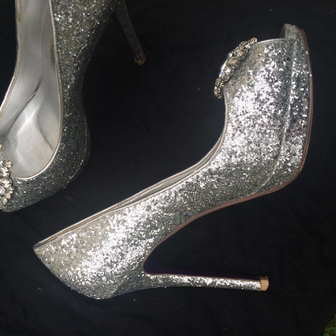 Silver sequin open toe heels with crystal detail
