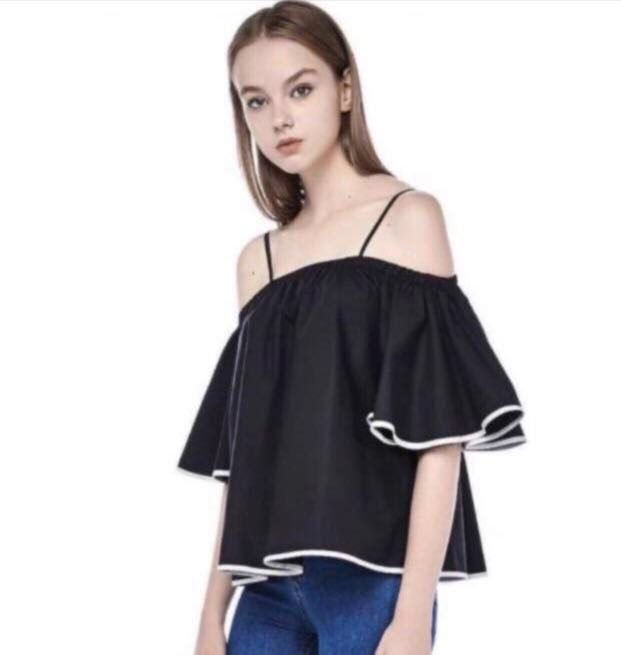 87268c9b398fa tem black white outline off shoulder top