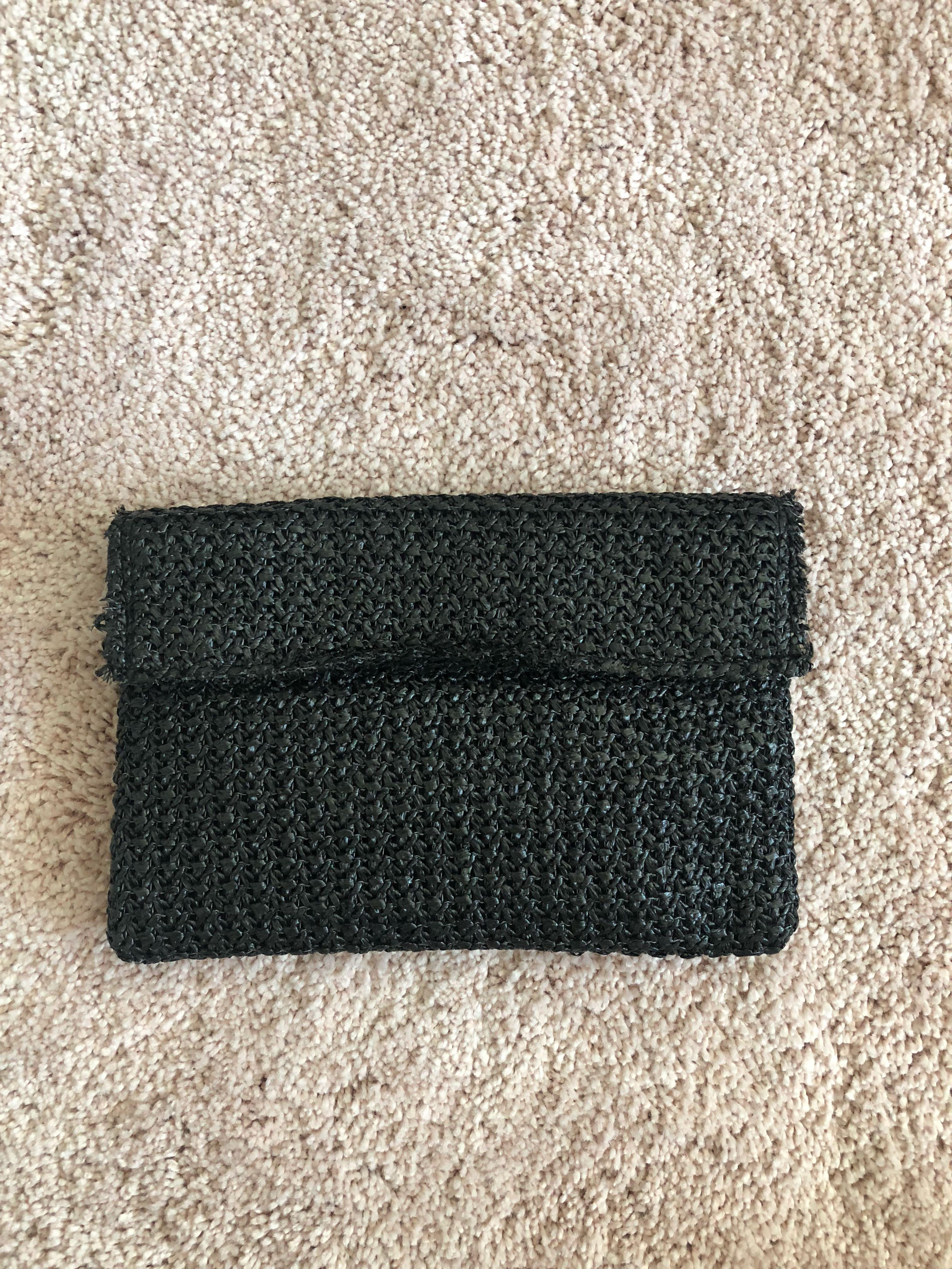 TONY BIANCO BLACK WOVEN CLUTCH
