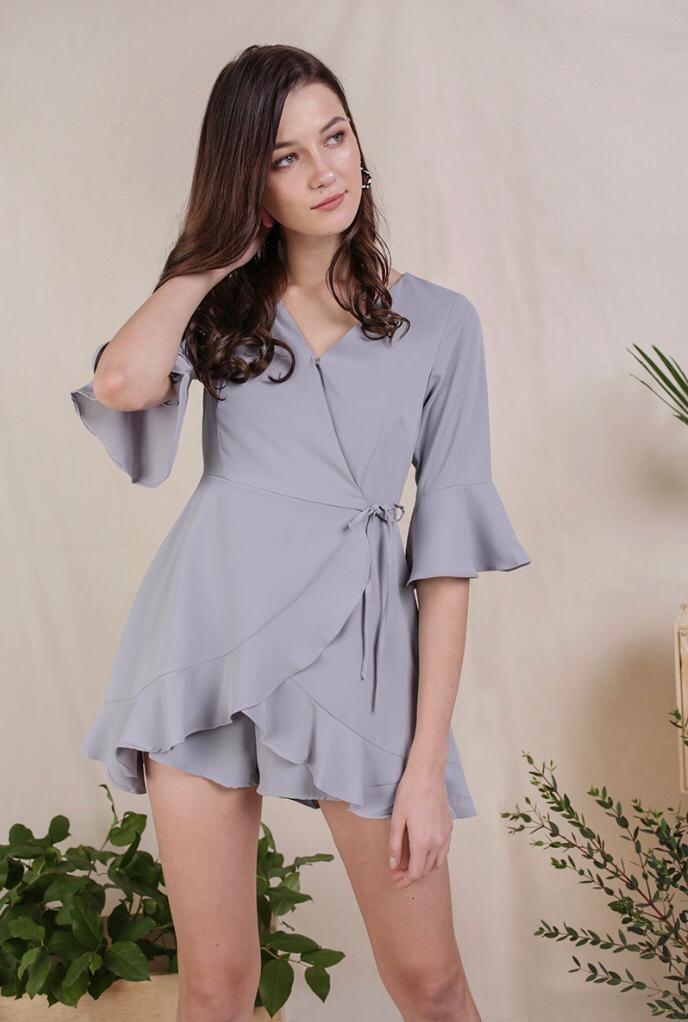 0f84be155cd4 TTR HYACINTH FRILLY ROMPER (LIGHT GREY)