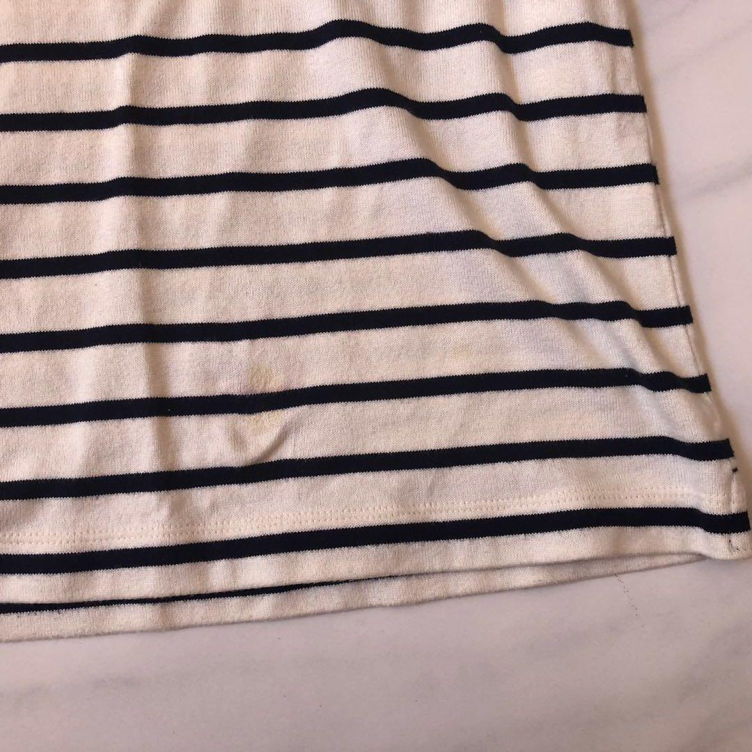 Uniqlo navy white striped long sleeve rop