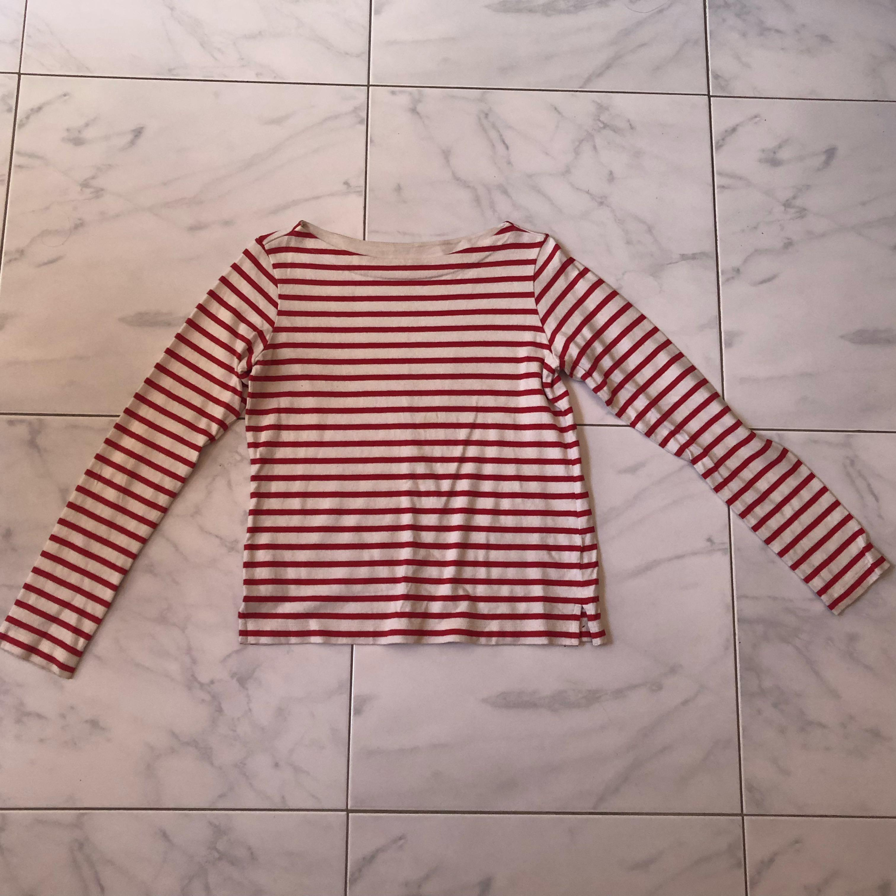 Uniqlo red white striped long sleeve shirt