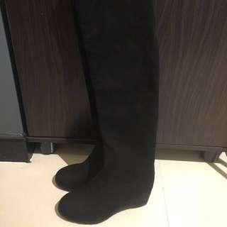 "Black over the knee boots in fabric material Eu 37.5, japan size 24.0, 2.5"" heel"