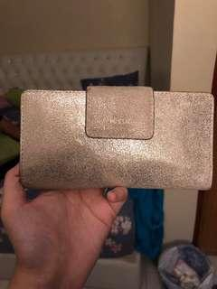 Authentic preloved Fossil rfid leather gold wallet