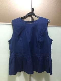 Blue jean Peplum Top