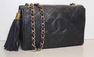 🚚 Chanel vintage 老香流蘇翻蓋金鏈包