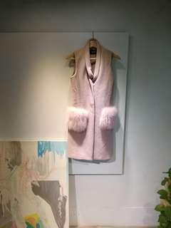 🚚 粉色韓國版型仿兔毛長版背心