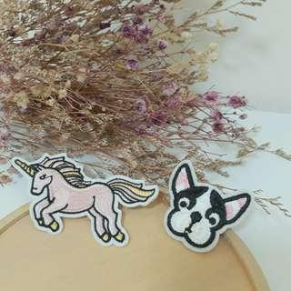 🚚 鬥牛犬造型刺繡布貼