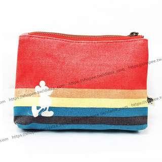 ☆Idalza☆ 過季商品 迪士尼 米老鼠 彩虹 帆布 化妝包 信用卡 證件包 手拿包 零錢包 收納袋 現貨 (特)