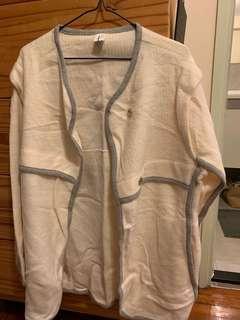 韓國奶白色針織外套