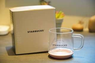 Starbucks 櫻花粉色底玻璃杯