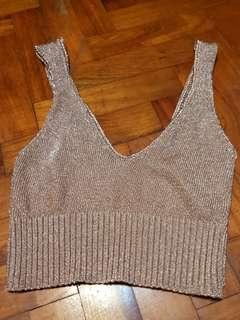 Pinkish Gold Knitted Crop Top