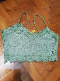 Lace Crop Top in Minty Jade Green