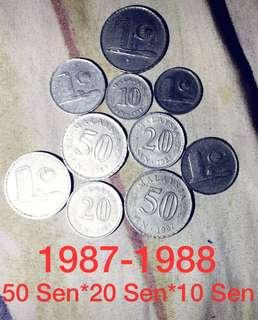 1987*1988 Old Malaysia Coins