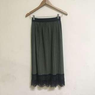 Olive Green Skirt with Lace Hem