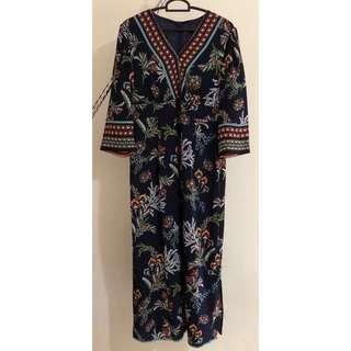 BATIK MAXI DRESS WITH 3/4 SLEEVE