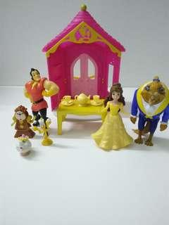 Beauty and The Beast Figures and Belle's Flip N Switch Castle Playset, Set of 8.